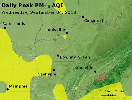 Peak Particles PM<sub>2.5</sub> (24-hour) - http://files.airnowtech.org/airnow/2013/20130904/peak_pm25_ky_tn.jpg