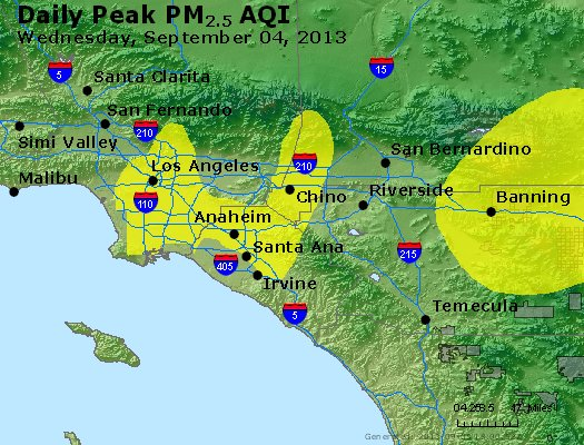 Peak Particles PM<sub>2.5</sub> (24-hour) - http://files.airnowtech.org/airnow/2013/20130904/peak_pm25_losangeles_ca.jpg