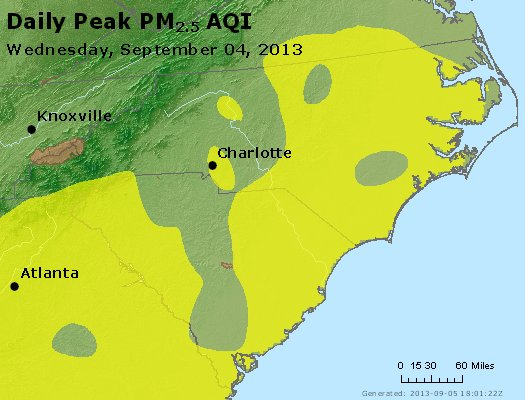 Peak Particles PM<sub>2.5</sub> (24-hour) - http://files.airnowtech.org/airnow/2013/20130904/peak_pm25_nc_sc.jpg