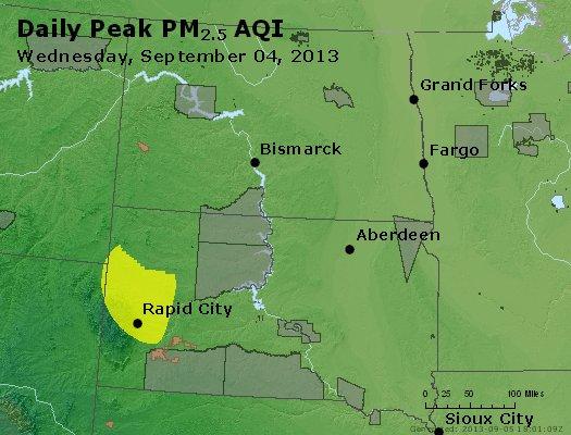 Peak Particles PM<sub>2.5</sub> (24-hour) - http://files.airnowtech.org/airnow/2013/20130904/peak_pm25_nd_sd.jpg