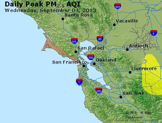 Peak Particles PM<sub>2.5</sub> (24-hour) - http://files.airnowtech.org/airnow/2013/20130904/peak_pm25_sanfrancisco_ca.jpg