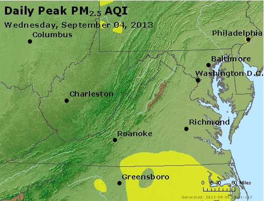 Peak Particles PM<sub>2.5</sub> (24-hour) - http://files.airnowtech.org/airnow/2013/20130904/peak_pm25_va_wv_md_de_dc.jpg