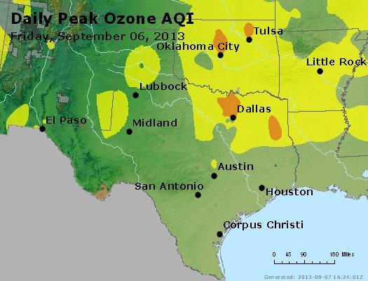 Peak Ozone (8-hour) - http://files.airnowtech.org/airnow/2013/20130906/peak_o3_tx_ok.jpg
