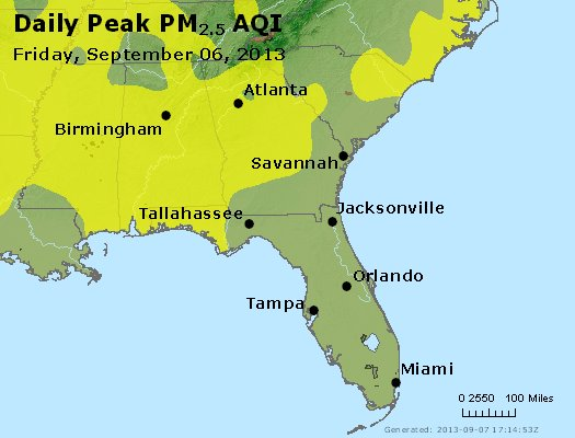 Peak Particles PM<sub>2.5</sub> (24-hour) - http://files.airnowtech.org/airnow/2013/20130906/peak_pm25_al_ga_fl.jpg
