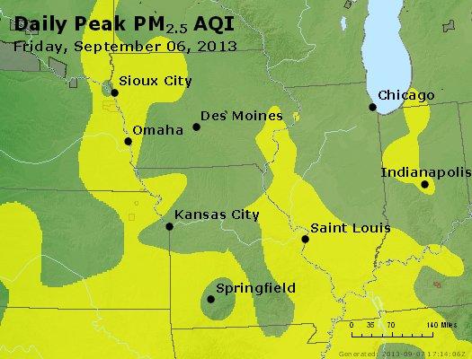 Peak Particles PM<sub>2.5</sub> (24-hour) - http://files.airnowtech.org/airnow/2013/20130906/peak_pm25_ia_il_mo.jpg