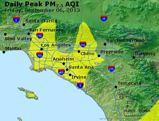 Peak Particles PM<sub>2.5</sub> (24-hour) - http://files.airnowtech.org/airnow/2013/20130906/peak_pm25_losangeles_ca.jpg