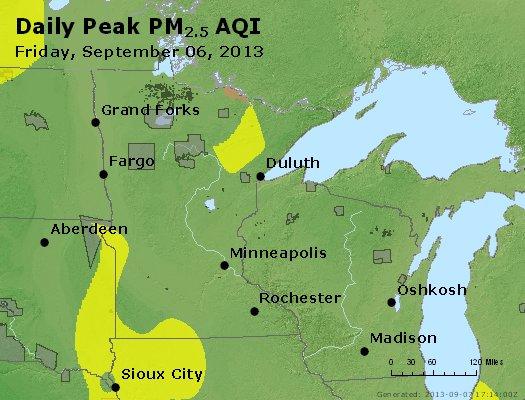 Peak Particles PM<sub>2.5</sub> (24-hour) - http://files.airnowtech.org/airnow/2013/20130906/peak_pm25_mn_wi.jpg