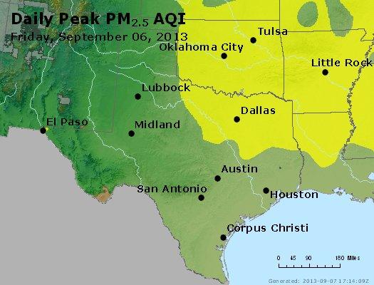 Peak Particles PM<sub>2.5</sub> (24-hour) - http://files.airnowtech.org/airnow/2013/20130906/peak_pm25_tx_ok.jpg