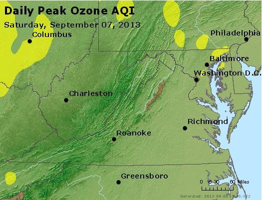 Peak Ozone (8-hour) - http://files.airnowtech.org/airnow/2013/20130907/peak_o3_va_wv_md_de_dc.jpg