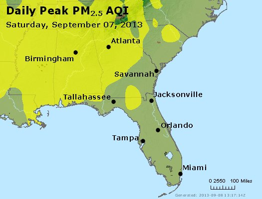 Peak Particles PM<sub>2.5</sub> (24-hour) - http://files.airnowtech.org/airnow/2013/20130907/peak_pm25_al_ga_fl.jpg
