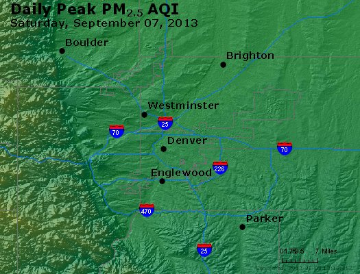 Peak Particles PM<sub>2.5</sub> (24-hour) - http://files.airnowtech.org/airnow/2013/20130907/peak_pm25_denver_co.jpg