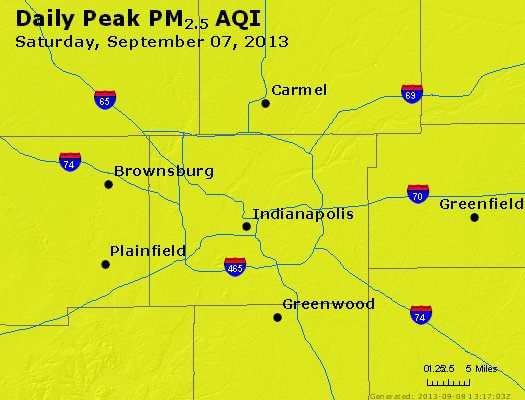 Peak Particles PM<sub>2.5</sub> (24-hour) - http://files.airnowtech.org/airnow/2013/20130907/peak_pm25_indianapolis_in.jpg
