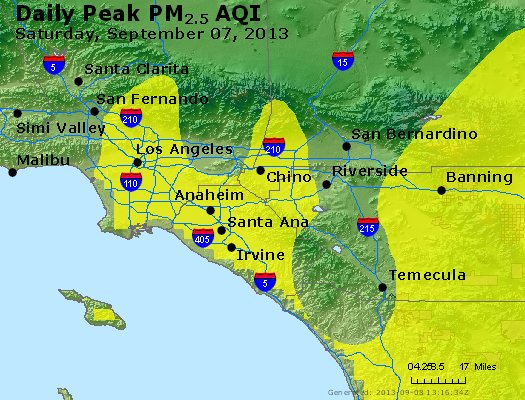 Peak Particles PM<sub>2.5</sub> (24-hour) - http://files.airnowtech.org/airnow/2013/20130907/peak_pm25_losangeles_ca.jpg
