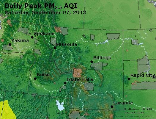 Peak Particles PM<sub>2.5</sub> (24-hour) - http://files.airnowtech.org/airnow/2013/20130907/peak_pm25_mt_id_wy.jpg