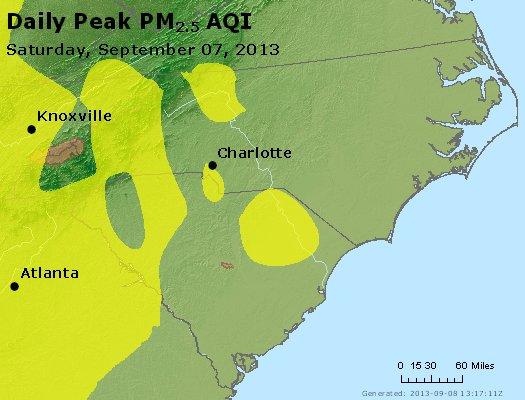 Peak Particles PM<sub>2.5</sub> (24-hour) - http://files.airnowtech.org/airnow/2013/20130907/peak_pm25_nc_sc.jpg
