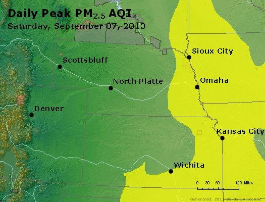 Peak Particles PM<sub>2.5</sub> (24-hour) - http://files.airnowtech.org/airnow/2013/20130907/peak_pm25_ne_ks.jpg
