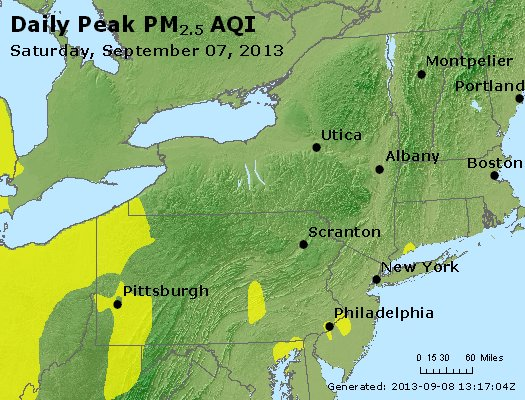Peak Particles PM<sub>2.5</sub> (24-hour) - http://files.airnowtech.org/airnow/2013/20130907/peak_pm25_ny_pa_nj.jpg