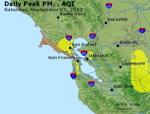 Peak Particles PM<sub>2.5</sub> (24-hour) - http://files.airnowtech.org/airnow/2013/20130907/peak_pm25_sanfrancisco_ca.jpg