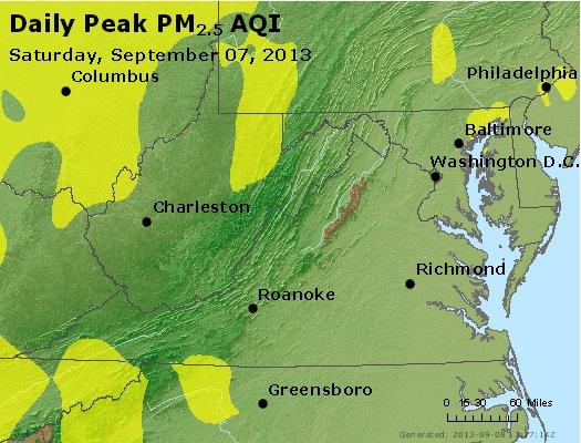 Peak Particles PM<sub>2.5</sub> (24-hour) - http://files.airnowtech.org/airnow/2013/20130907/peak_pm25_va_wv_md_de_dc.jpg