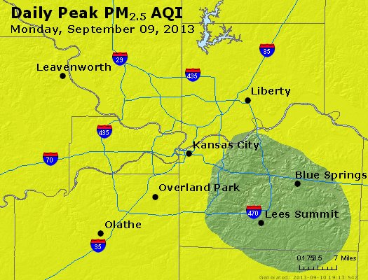 Peak Particles PM<sub>2.5</sub> (24-hour) - http://files.airnowtech.org/airnow/2013/20130909/peak_pm25_kansascity_mo.jpg