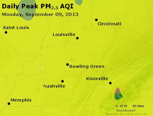 Peak Particles PM<sub>2.5</sub> (24-hour) - http://files.airnowtech.org/airnow/2013/20130909/peak_pm25_ky_tn.jpg