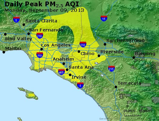 Peak Particles PM<sub>2.5</sub> (24-hour) - http://files.airnowtech.org/airnow/2013/20130909/peak_pm25_losangeles_ca.jpg