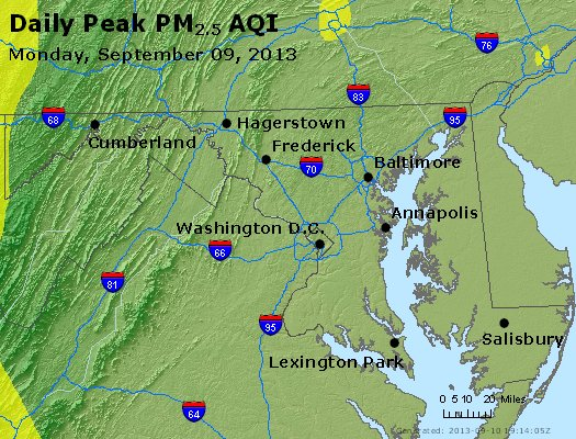 Peak Particles PM<sub>2.5</sub> (24-hour) - http://files.airnowtech.org/airnow/2013/20130909/peak_pm25_maryland.jpg