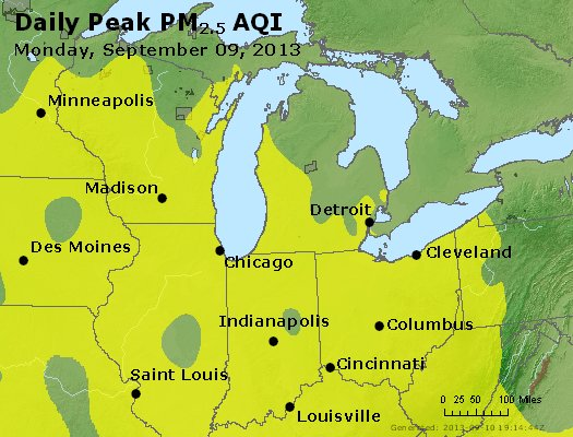 Peak Particles PM<sub>2.5</sub> (24-hour) - http://files.airnowtech.org/airnow/2013/20130909/peak_pm25_mi_in_oh.jpg