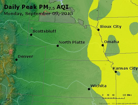 Peak Particles PM<sub>2.5</sub> (24-hour) - http://files.airnowtech.org/airnow/2013/20130909/peak_pm25_ne_ks.jpg