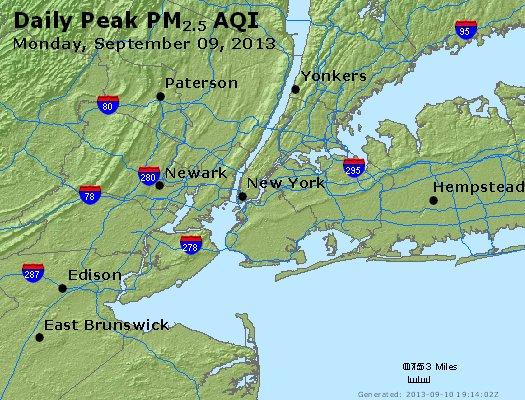 Peak Particles PM<sub>2.5</sub> (24-hour) - http://files.airnowtech.org/airnow/2013/20130909/peak_pm25_newyork_ny.jpg