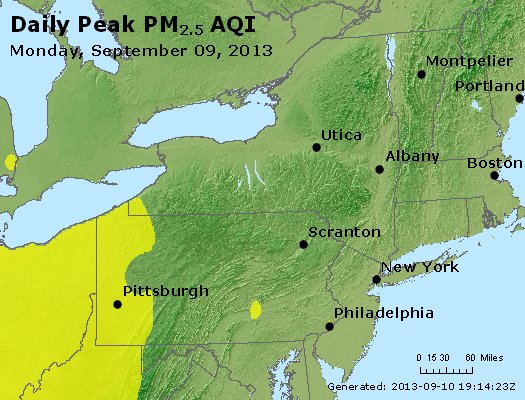 Peak Particles PM<sub>2.5</sub> (24-hour) - http://files.airnowtech.org/airnow/2013/20130909/peak_pm25_ny_pa_nj.jpg