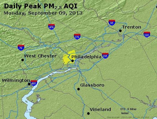 Peak Particles PM<sub>2.5</sub> (24-hour) - http://files.airnowtech.org/airnow/2013/20130909/peak_pm25_philadelphia_pa.jpg