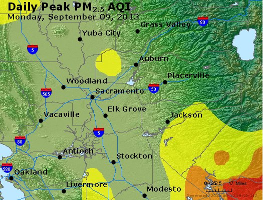 Peak Particles PM<sub>2.5</sub> (24-hour) - http://files.airnowtech.org/airnow/2013/20130909/peak_pm25_sacramento_ca.jpg