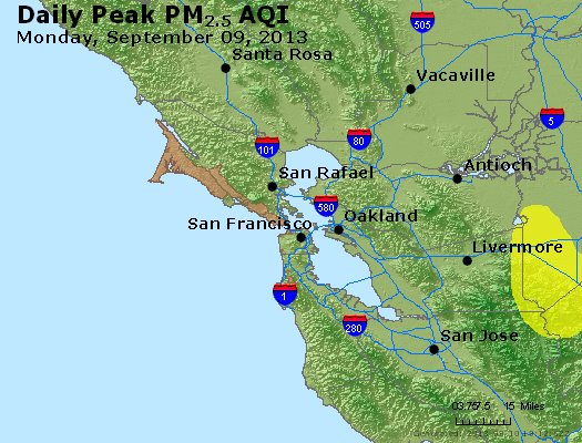 Peak Particles PM<sub>2.5</sub> (24-hour) - http://files.airnowtech.org/airnow/2013/20130909/peak_pm25_sanfrancisco_ca.jpg