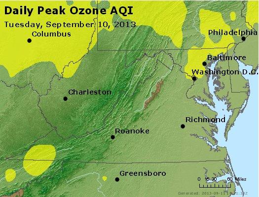 Peak Ozone (8-hour) - http://files.airnowtech.org/airnow/2013/20130910/peak_o3_va_wv_md_de_dc.jpg