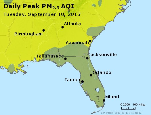 Peak Particles PM<sub>2.5</sub> (24-hour) - http://files.airnowtech.org/airnow/2013/20130910/peak_pm25_al_ga_fl.jpg