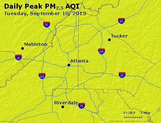 Peak Particles PM<sub>2.5</sub> (24-hour) - http://files.airnowtech.org/airnow/2013/20130910/peak_pm25_atlanta_ga.jpg