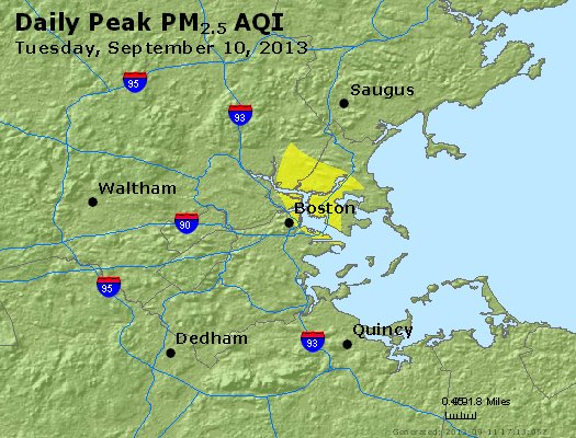 Peak Particles PM<sub>2.5</sub> (24-hour) - http://files.airnowtech.org/airnow/2013/20130910/peak_pm25_boston_ma.jpg