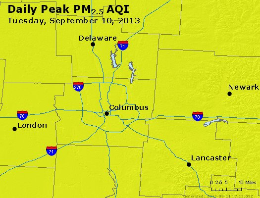 Peak Particles PM<sub>2.5</sub> (24-hour) - http://files.airnowtech.org/airnow/2013/20130910/peak_pm25_columbus_oh.jpg