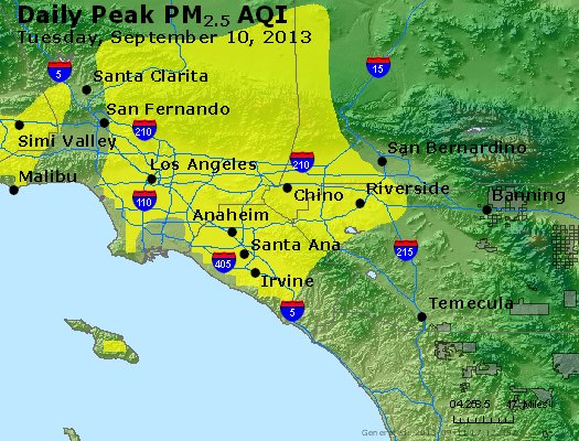 Peak Particles PM<sub>2.5</sub> (24-hour) - http://files.airnowtech.org/airnow/2013/20130910/peak_pm25_losangeles_ca.jpg
