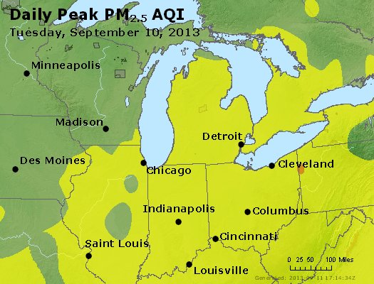 Peak Particles PM<sub>2.5</sub> (24-hour) - http://files.airnowtech.org/airnow/2013/20130910/peak_pm25_mi_in_oh.jpg
