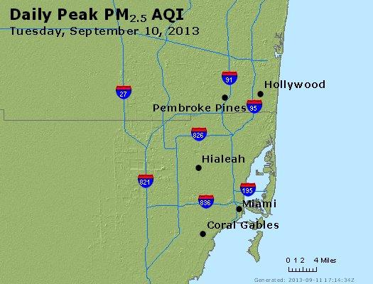 Peak Particles PM<sub>2.5</sub> (24-hour) - http://files.airnowtech.org/airnow/2013/20130910/peak_pm25_miami_fl.jpg
