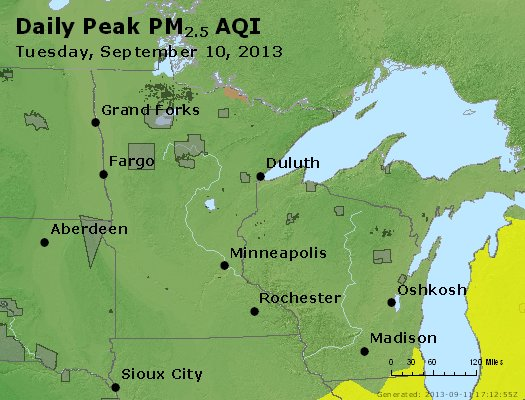 Peak Particles PM<sub>2.5</sub> (24-hour) - http://files.airnowtech.org/airnow/2013/20130910/peak_pm25_mn_wi.jpg