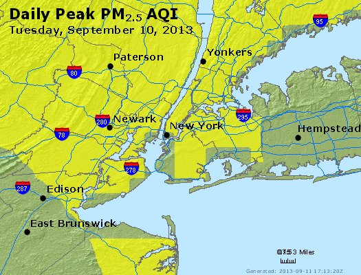Peak Particles PM<sub>2.5</sub> (24-hour) - http://files.airnowtech.org/airnow/2013/20130910/peak_pm25_newyork_ny.jpg