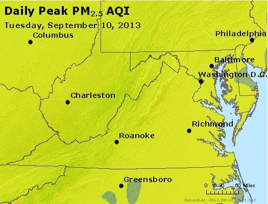 Peak Particles PM<sub>2.5</sub> (24-hour) - http://files.airnowtech.org/airnow/2013/20130910/peak_pm25_va_wv_md_de_dc.jpg