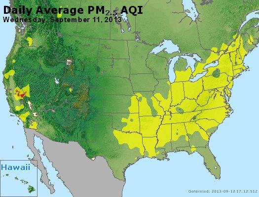 Peak Particles PM<sub>2.5</sub> (24-hour) - http://files.airnowtech.org/airnow/2013/20130911/peak_pm25_usa.jpg