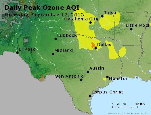 Peak Ozone (8-hour) - http://files.airnowtech.org/airnow/2013/20130912/peak_o3_tx_ok.jpg
