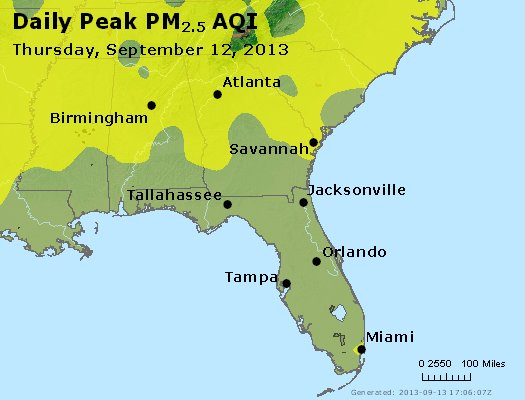 Peak Particles PM<sub>2.5</sub> (24-hour) - http://files.airnowtech.org/airnow/2013/20130912/peak_pm25_al_ga_fl.jpg