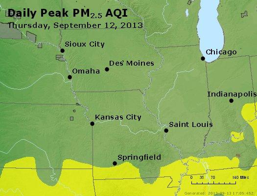 Peak Particles PM<sub>2.5</sub> (24-hour) - http://files.airnowtech.org/airnow/2013/20130912/peak_pm25_ia_il_mo.jpg