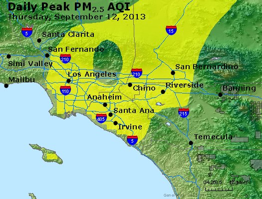 Peak Particles PM<sub>2.5</sub> (24-hour) - http://files.airnowtech.org/airnow/2013/20130912/peak_pm25_losangeles_ca.jpg